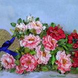 """Ricamo """" Rose """" , Silk ribbon embroidery, quadro da incorniciare"""