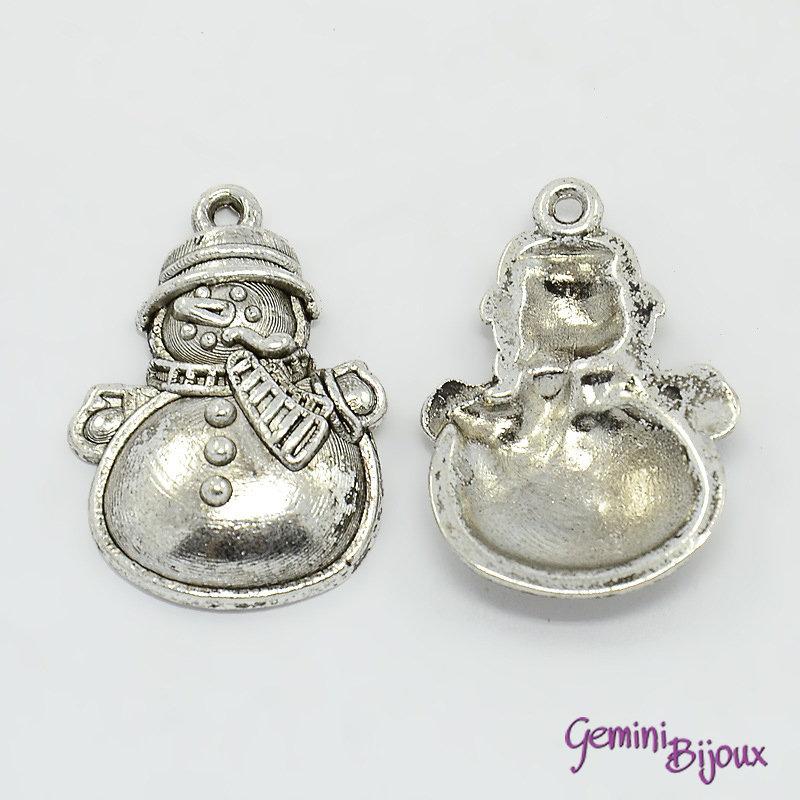 Charm argento tibetano pupazzo di neve, 25x17x3mm