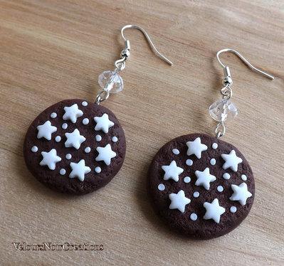 Orecchini biscotto pan di stelle mulino bianco in fimo