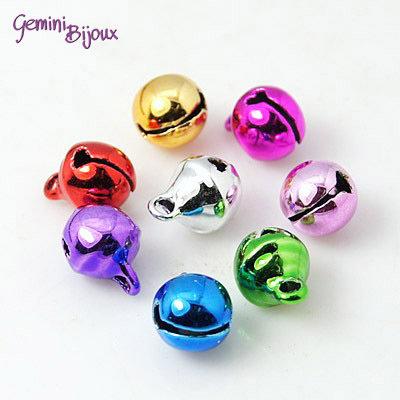 Lotto 10 ciondoli campanellini colorati mix 8x10mm.