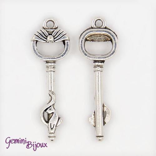 Charm chiave stile tibetano argentato 36x11 - K040