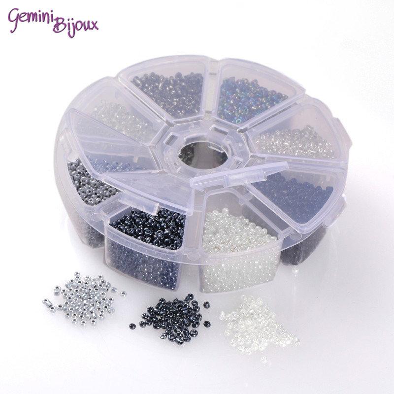 Box Perline tonde in vetro mix grigio 4mm.