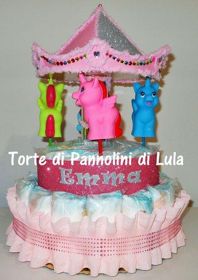 Torta di Pannolini Pampers Giostra- Carosello - idea regalo, originale ed utile, per nascite, battesimi e compleanni