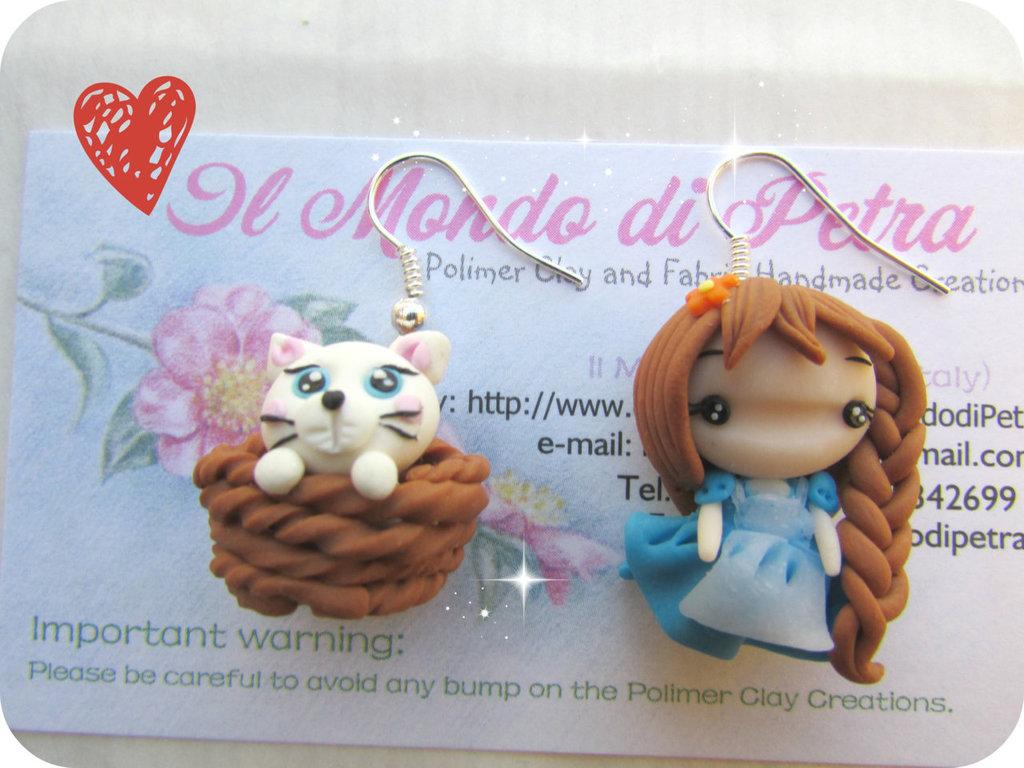 Orecchini Doll Campagnola con Gattino in Fimo Kawaii
