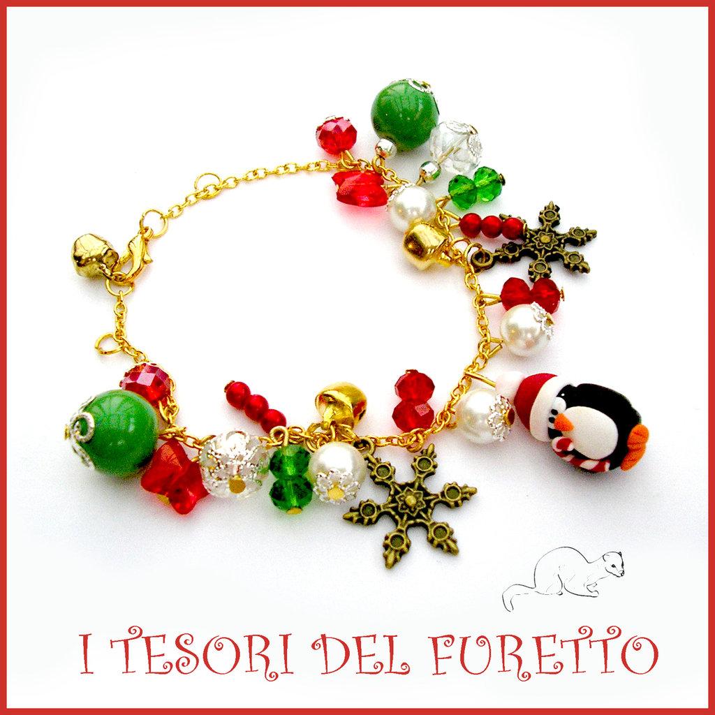 """Bracciale Natale 2015 """"Pinguino Piccolo charm rosso verde oro"""" charm orsetto bijoux natalizi idea regalo economica bambina ragazza"""