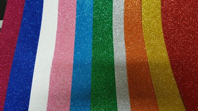 60 Fogli Gomma crepla glitter 40*60