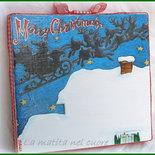 Lavagna piccola tetto con neve e slitta di Babbo Natale realizzata e dipinta a mano