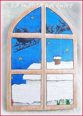 Lavagna con antine dalla finestra Babbo Natale vola sui tetti con la slitta realizzata e dipinta a mano
