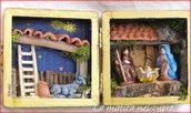 Presepio tradizionale fatto a mano in cofanetto di legno quadrato