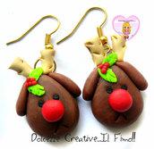 ☃ Natale In Dolcezze 2015 ☃ Orecchini Renna di Babbo Natale Rudolph naso rosso