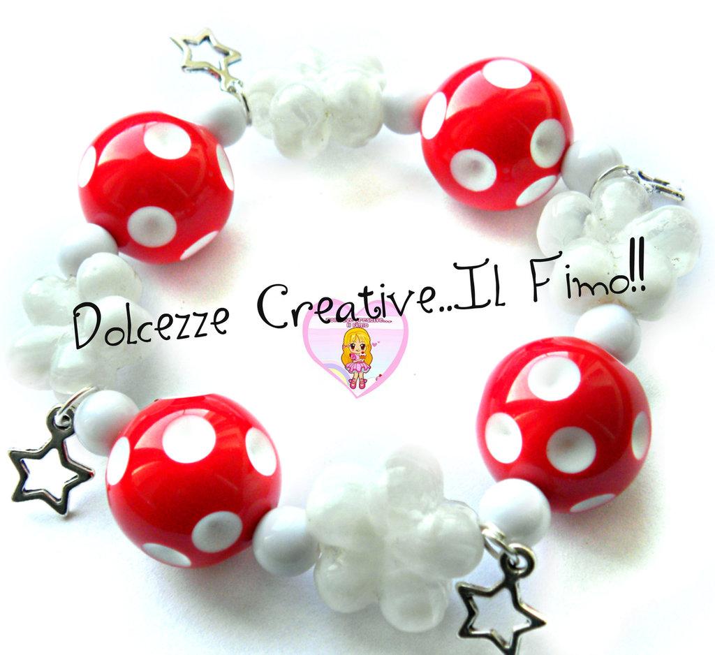 ☃ Natale In Dolcezze 2015 ☃ Bracciale Elastico - Perle rosse a pois bianchi con pendenti a stella