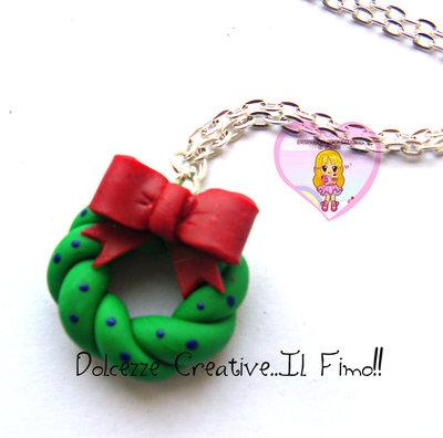 ☃ Natale In Dolcezze 2015 ☃  Collana Con Ghirlanda - Coccarda -Fiocco rosso - idea regalo natale