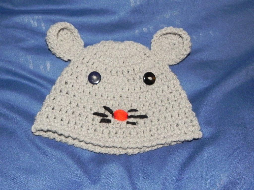 Cappellino gattino grigio 0-4 mesi