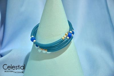 Bracciale spirale caucciù - Azzurro