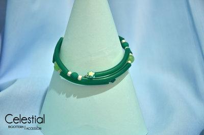 Bracciale spirale caucciù - Verde