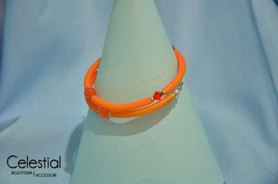 Bracciale spirale caucciù - Arancione