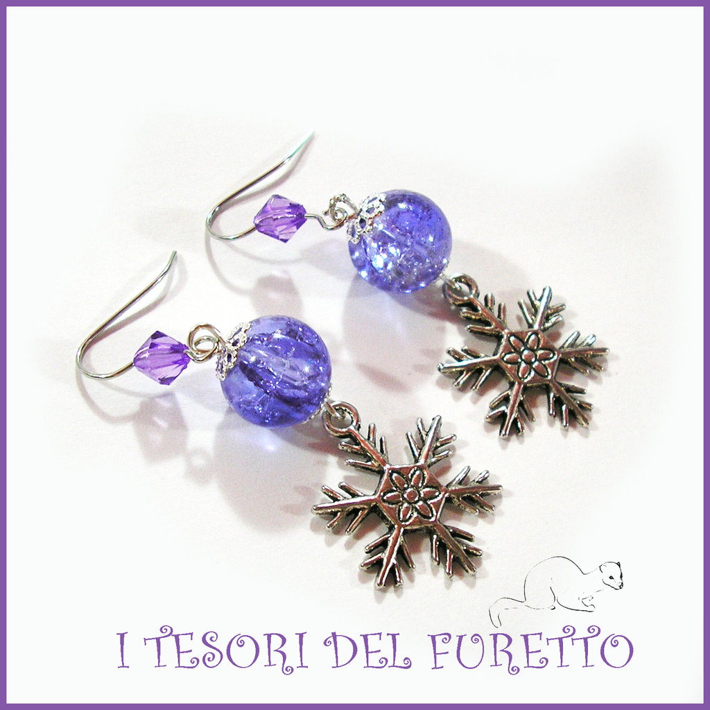 """Orecchini Natale 2015 """" Let it snow Azzurro"""" Fiocchi neve charm perle cristalli elegante idea regalo donna ragazza bijoux natalizi"""