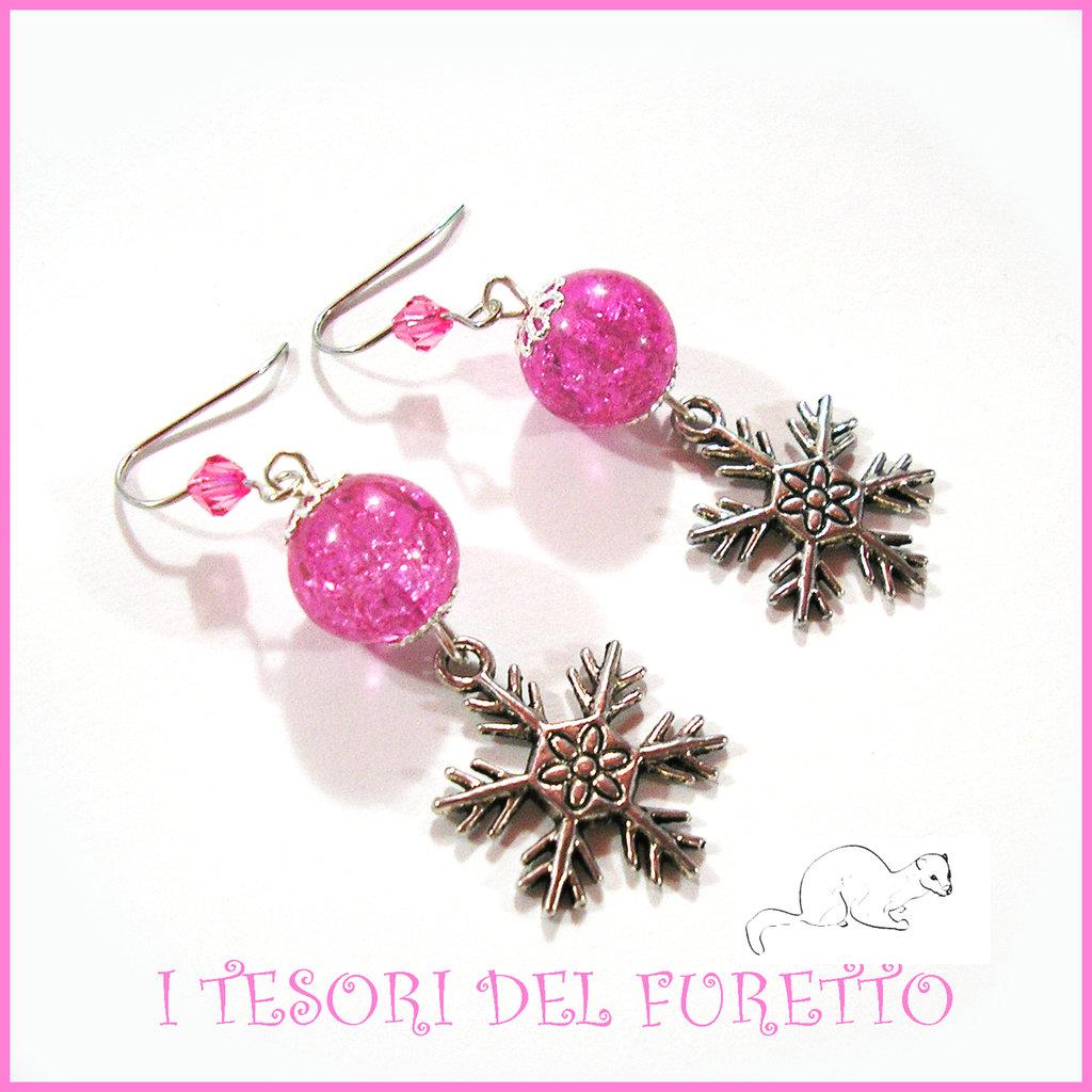 """Orecchini Natale 2015 """" Let it snow Rosa"""" Fiocchi neve charm perle cristalli elegante idea regalo donna ragazza bijoux natalizi"""