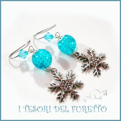 """Orecchini Natale 2015 """" Let it snow Turchese"""" Fiocchi neve charm perle cristalli elegante idea regalo donna ragazza bijoux natalizi"""