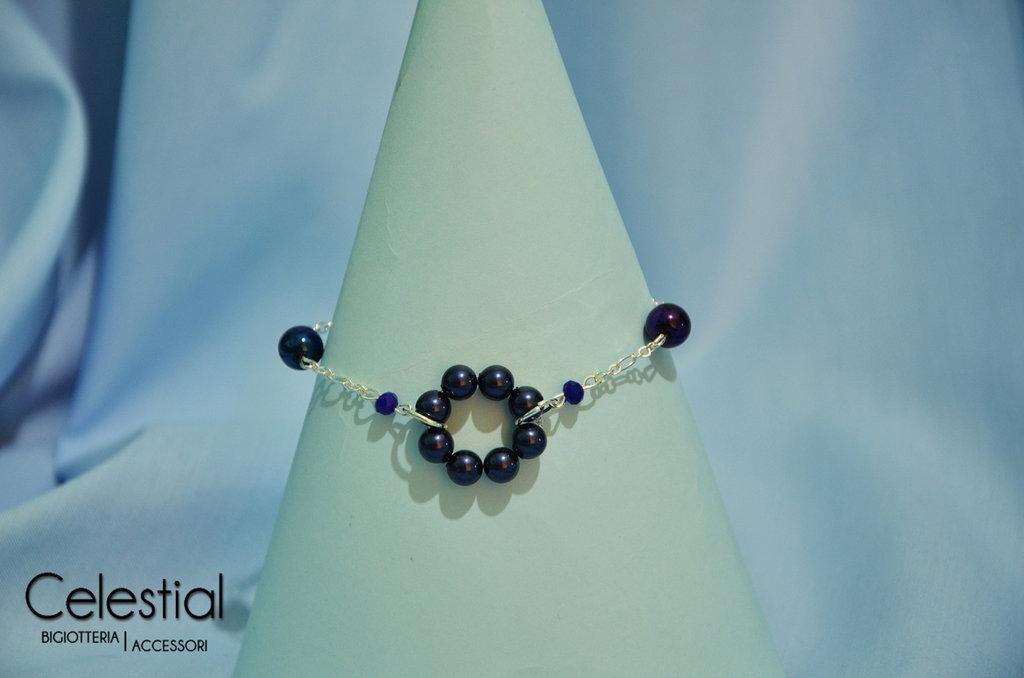 Bracciale cerchio di perle - Night Blue