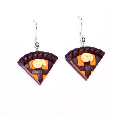Orecchini pendenti con Crostatine Cioccolato e Arancia