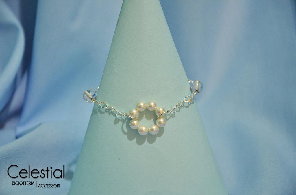 Bracciale cerchio di perle - White