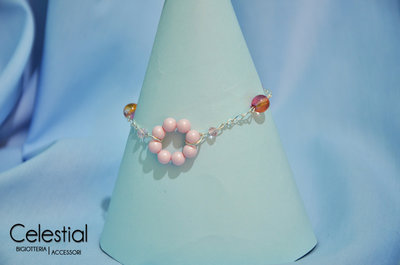 Bracciale cercho di perle - Pastel Rose Boemia