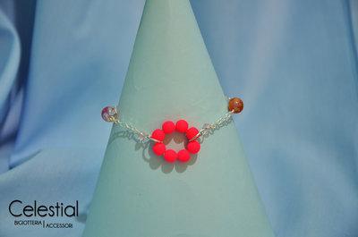 Bracciale cerchio di perle - Neon Pink