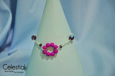 Bracciale cerchio di perle - Neon Purple