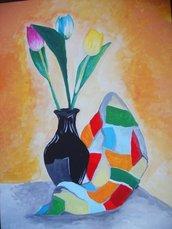 3 tulipani, il vaso e il panno