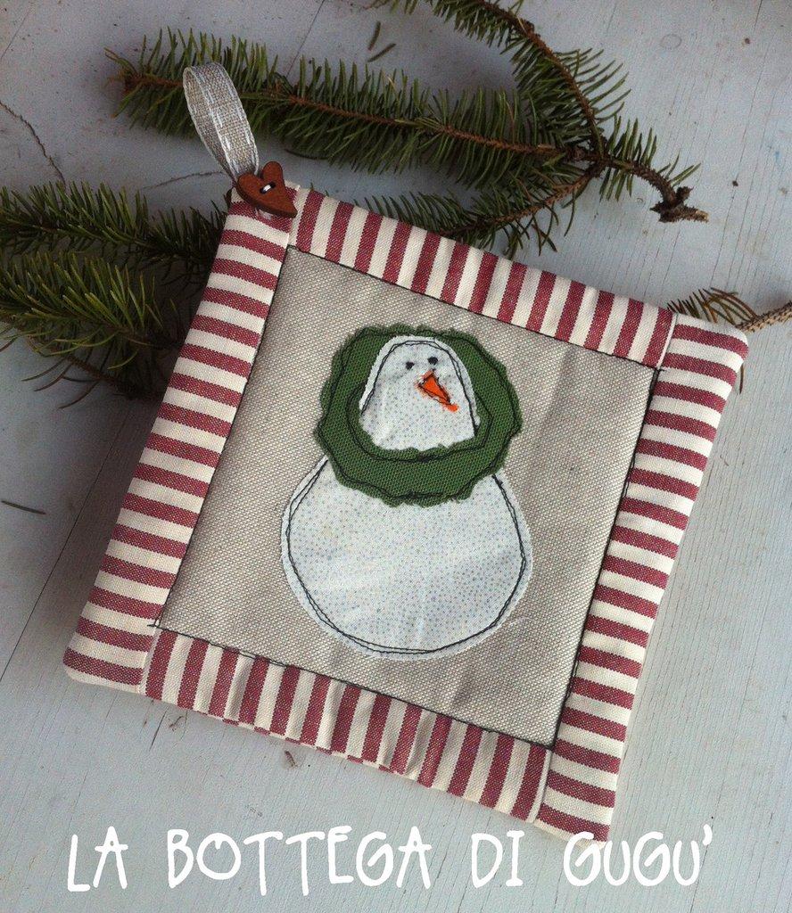 Presina natalizia con pupazzo di neve e bordo patchwork