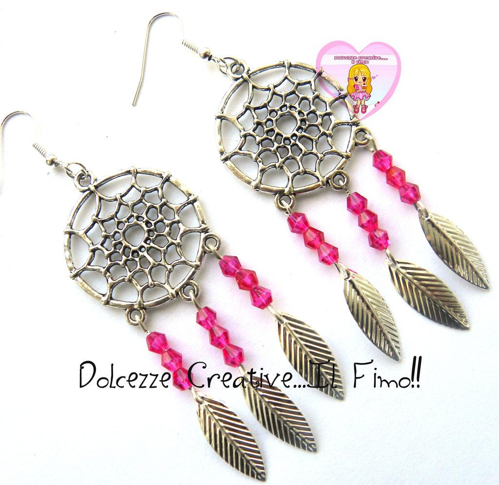 Orecchini Acchiappasogni - Scacciapensieri- Con biconi rosa e piume