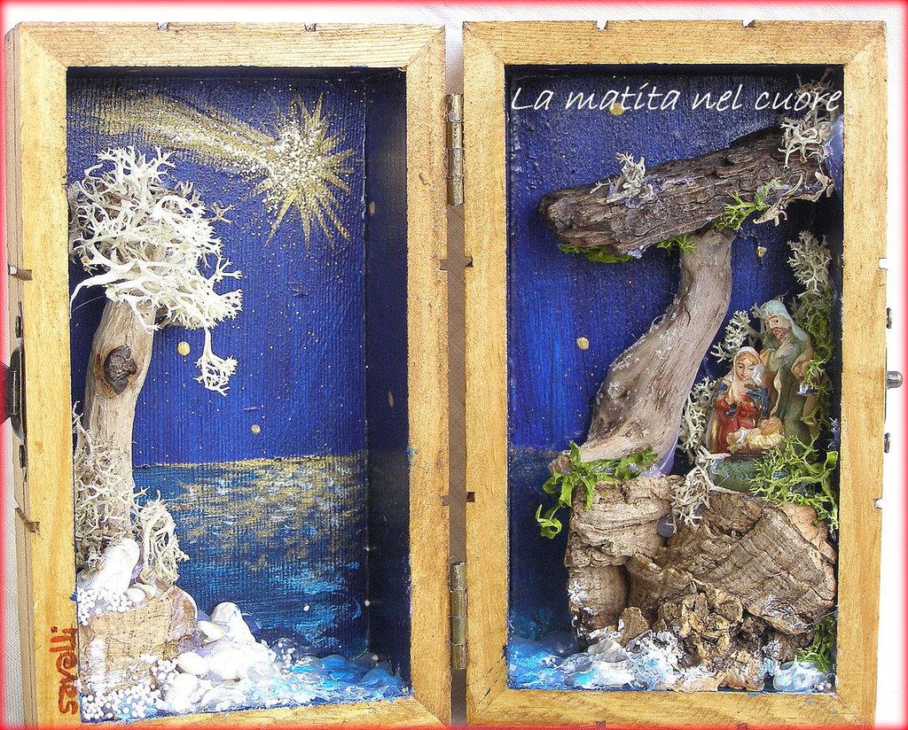 Presepio sul mare fatto a mano in cofanetto di legno piccolo