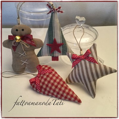 Decorazioni natalizie C in cotone,   gingerbread, stella,albero e cuore imbottiti