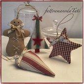 Decorazioni  natalizie A in cotone, gingerbread ,stella, albero e cuore
