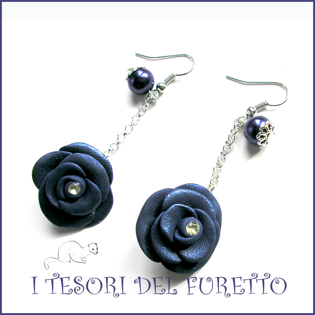 """Orecchini """"Rosa blu navy  metallizzata"""" lunghi fimo cernit premo idea regalo donna ragazza bijoux natalizi"""