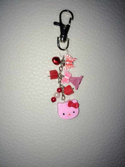 Portachiavi Hello Kitty Rosa con Charms