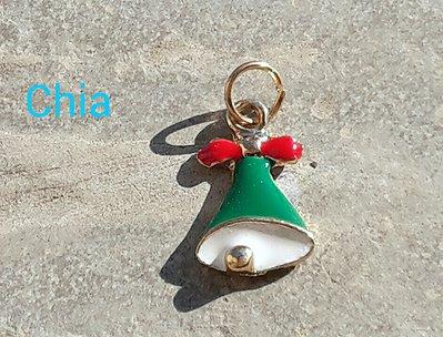 1 charm campanella smalto natale bianco e verde