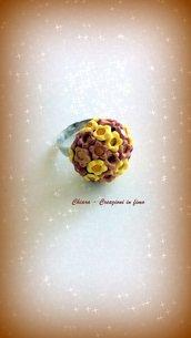 Anello in fimo elegante handmade con fiori giallo oro idee regalo donna