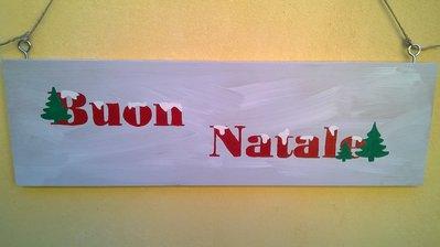 Pannello decorativo in legno - Scritta BUON NATALE