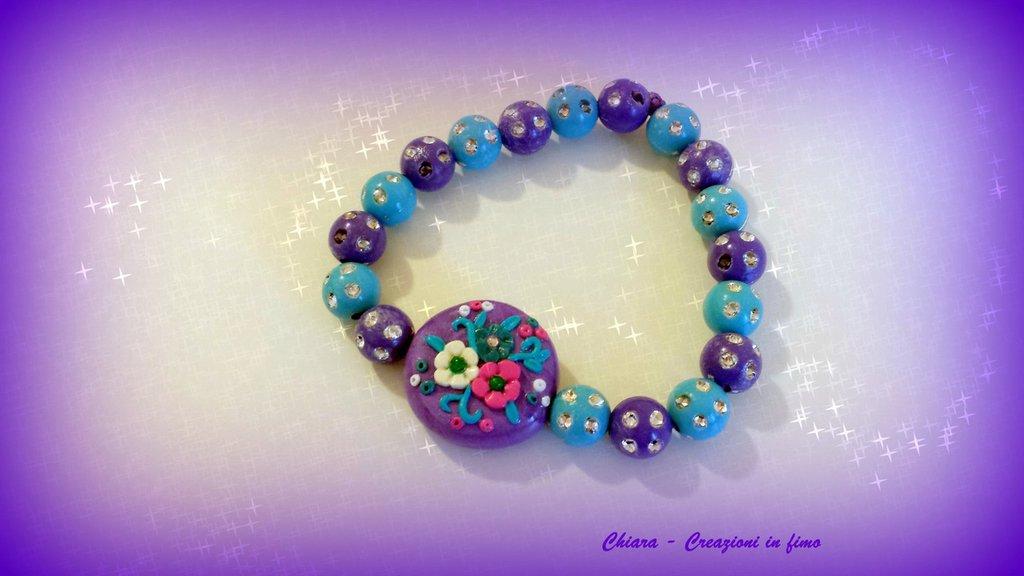 Bracciale in fimo elegante handmade con fiori in rilievo, perline colorate e strass Idea regalo donna