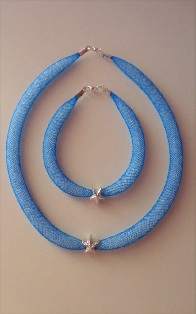 Parure collana più braccialetto rete tubolare