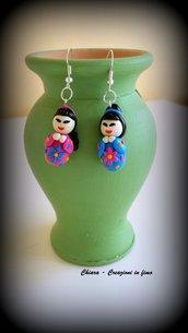 Orecchini in fimo handmade kokeschi kawaii idee regalo originali