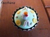 Cassata siciliana. Magnete per il frigorifero, oppure anello o collana