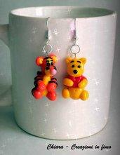 Orecchini in fimo handmade Winnie the Pooh e Tigro Idee regalo amica regalo epifania bomboniere compleanno