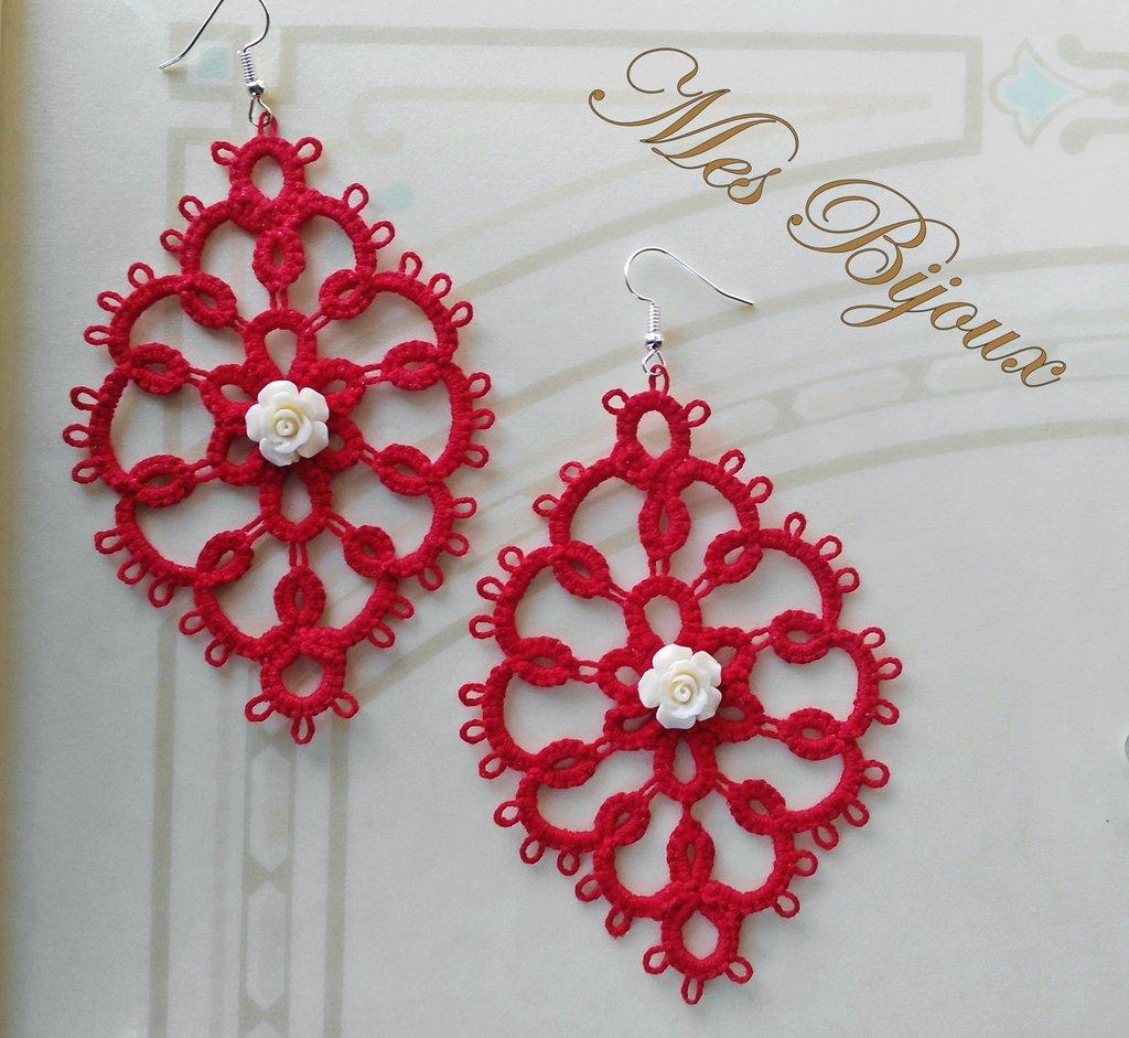 Orecchini moda rossi con rosellina bianca chiacchierino idea regalo natale donna ragazza