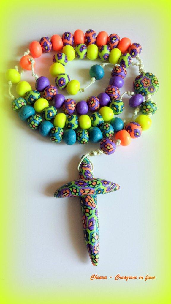 Rosario in fimo fatto a mano multicolore con murrine colorate - creazioni personalizzabili Gli originali Idee regalo donna