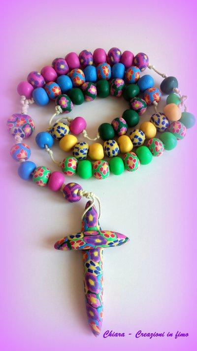 Molto Rosario in fimo fatto a mano multicolore con murrine colorate  QP28