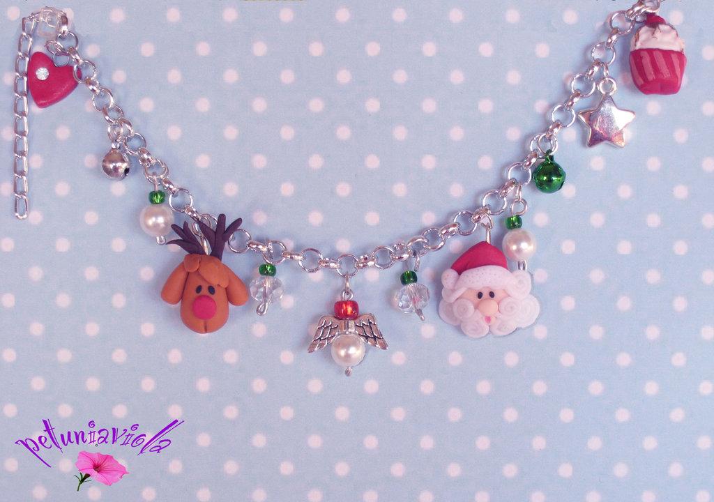 Braccialetto Babbo Natale e Rudolf fimo- Bracciale fimo- Fimo Natale