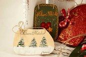 4 decorazioni natalizie in legno dipinte a mano